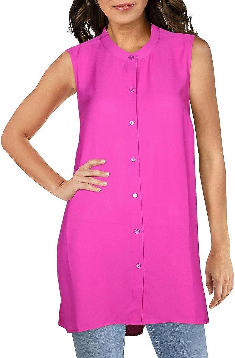 Alfani Womens Blouse Large Button-Down Sheer Tunic Purple L