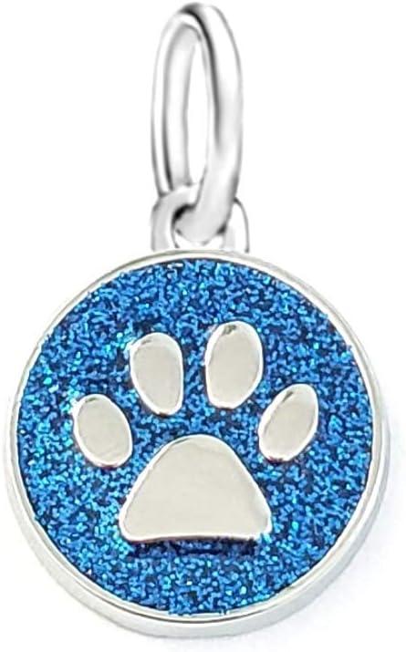 Dangle Light Blue Sparkling Cat/Dog Paw Charm Bead