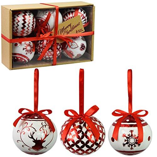 PMS Set di 6 Baubles di Natale di Lusso Decorazione Tradizionale dell'albero Natale Balls Festive Tema (Baubles Rosso Metallico)