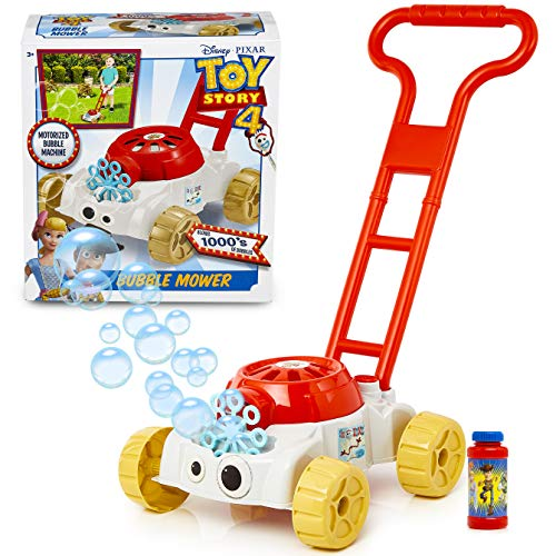 Disney Toy Story Bubble Mower With Forky | Push Along Children Toy Lawn Mower & Motorized Bubble Machine, Space Ranger Soapy Solution Included | Garden Toy & Small Gift Idea From Age 3