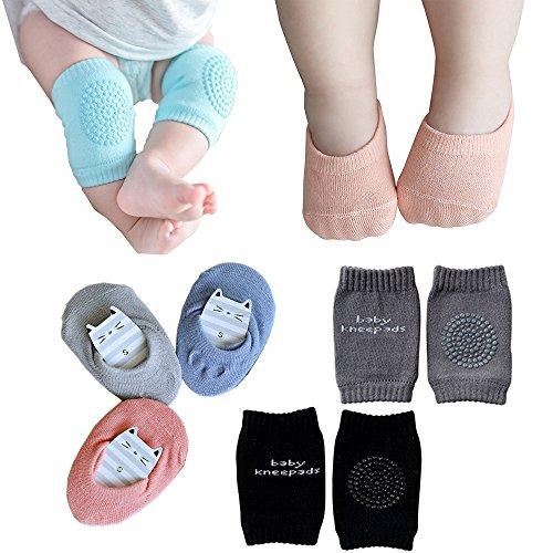 Baby Crawling Anti-Slip Knee and Anti Slip Baby Boys Girls Socks Best Infant Gift, Unisex Baby Toddlers Kneepads 2 Pairs, Soft Cotton Assorted Boys Girls Grip Walkers Socks 3 Pairs (Black Dark Grey)