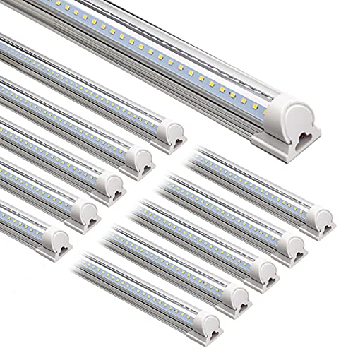 Barrina LED Shop Light, 8FT 72W 9000LM 5000K, Daylight White, V Shape, Clear Cover, Hight Output, Linkable Shop Lights, T8 LED Tube Lights, LED Shop Lights for Garage 8 Foot with Plug (Pack of 10)