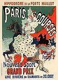 Póster de Jules Cheret 'Paris Courses Grand Prix Hippodrome de la Porte Maillot', Francia, 1890, reproducción de 200 g/m² A3 clásico Art Nouveau