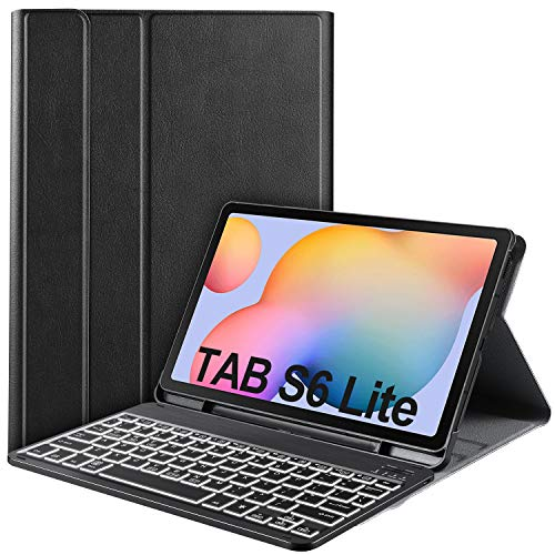 IVSO for Samsung Galaxy Tab S6 Lite Keyboard, 7 Colors Backlit 3 Level Brightness Hundreds of DIY Backlit, Detachable Wireless Keyboard Case for Samsung Galaxy Tab S6 Lite 10.4 P610/P615 2020, Oil