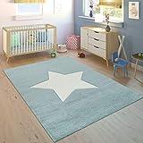 Paco Home Alfombra Habitación Infantil Niño Moderna Gran Estrella En Azul Pastel Y Blanco,...