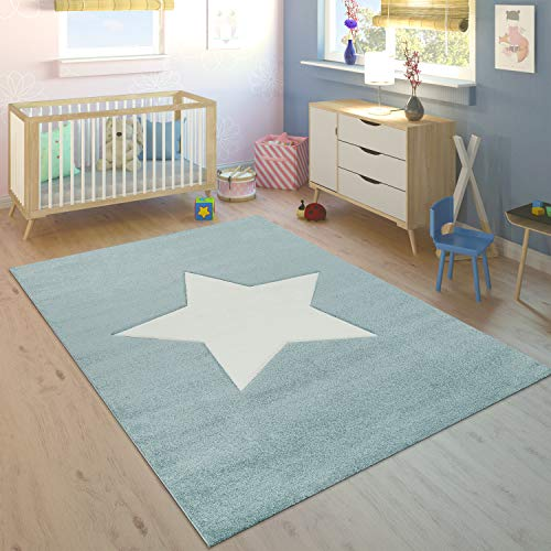 Paco Home Kinderteppich Kinderzimmer Jungen Modern Großer Stern In Pastell Blau Weiß, Grösse:120x170 cm