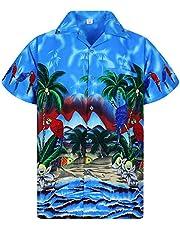 V.H.O. Funky Hawaiian Shirt, Shortsleeve, Parrot, Blue, S