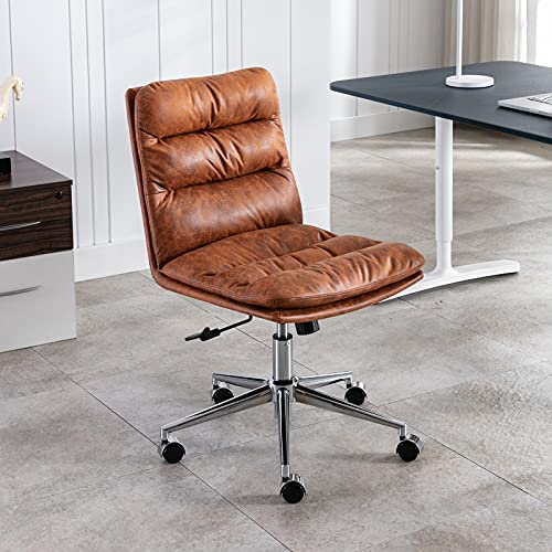 Wahson Leder Bürostuhl Drehstuhl Schreibtischstuhl mit Dickem Kissen Armless Arbeitsstuhl Höhenverstellbar für Home Office (Braun)