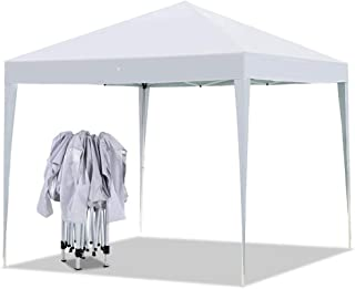 Yaheetech Outdoor Pop-Up Canopy Tent Portable Shade Instant Folding Canopy with Carry Bag 10 x 10 ft Base, 10 x 10 ft Canopy White