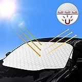HWeggo Copertura Parabrezza per Auto, Parasole Pieghevole Impermeabile Magnetico Rimovibile Incorporato SUV, Anti UV Anti-Neve, Protezione per qualsiasi tempo adatta (146 cm x 114 cm)
