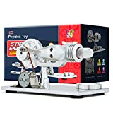 DjuiinoStar Hot Air Stirling Engine, Solid Metal Construction, Electricity Generator (Light up Colorful LED), My First Stirling Engine
