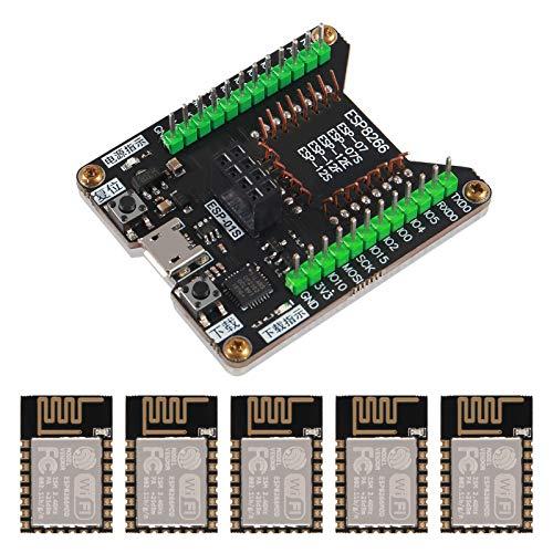 DORHEA ESP8266 Code Burner Firmware Downloader Flash Download Tool Test Board + 5pcs ESP-12E ESP12E WiFi Module Compatible with Ardu-ino, Wireless Transmission Serial Transceiver Receiver
