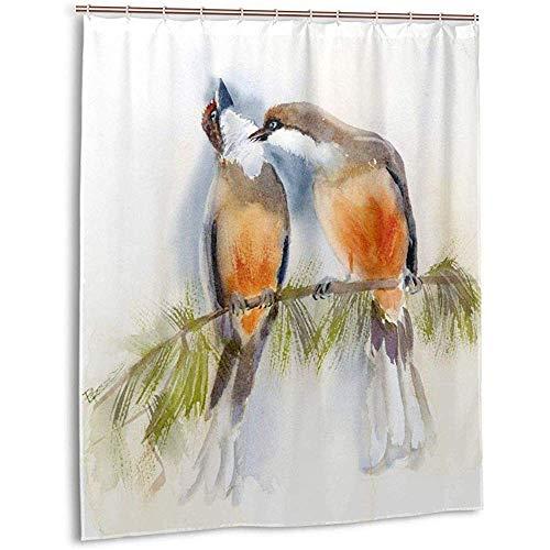 Sherry K-Shower Curtains Cortina de Ducha Pareja besando pájaro en una Rama Acuarela Cortina de baño con Ganchos Conjuntos de Cortinas de baño de Tela Resistente al Agua (183cm x 183cm)