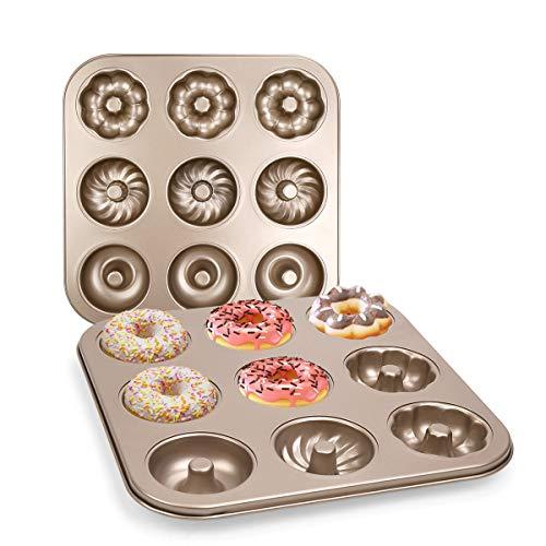 DricRoda 9 Cavity Donut Baking Pan, Non-Stick Donut Baking Tray, Doughnut Maker, Carbon Steel Bagels Mold, Donut Cake Pan for Cake Biscuit Baking (9 - Cavity)