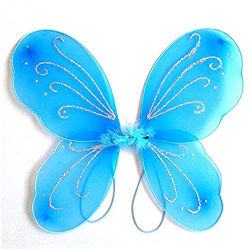 Yuxi Toddler Butterfly Wings Blue Dress Up Fairy Wings for Little Girls Halloween Angel Wings Costume Accessories(Blue)