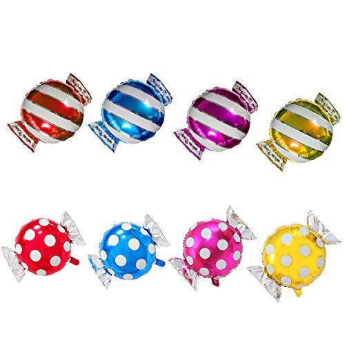 TRIXES 8er Pack Folien-Luftballons in Bonbon Form Multicolor gestreift und gepunktet Geburtstag Partys Feiern