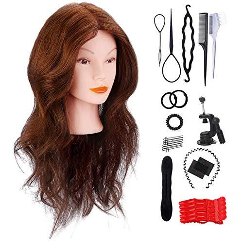 Cabeza peluqueria pelo natural, Missicee 18inch 100% Cabello Humano Real Practicas Formación Muñeca de la Cosmetología práctica maniquí para Peluquería con Soporte + Accesorios de Peinado DIY
