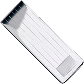 Sterling Manufacturers Sterling Silver .925 Solid Striped Design Engravable Money Clip for Bills Cards. Designed and Made in Italy. Weight: 23.9 Grams, Measurements: 2.12