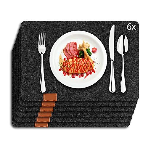 AngLink Tischsets Abwaschbar, Platzsets 6er Set,Hitzebeständige Platzdeckchen Gegen Bewuchs und Scheuern,Einschließlich 6 Tischsets (44 * 30cm),Geeignet für Küche,Familie