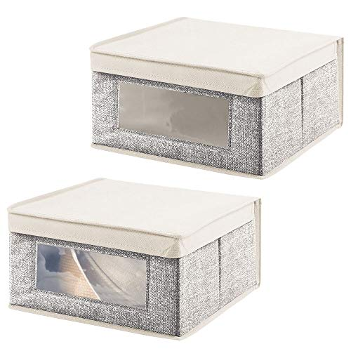 mDesign - Opbergmand - opbergbox - voor kinderkamer/voor in de kast - met deksel/van stof - gemiddeld formaat - zwart/crème - per 2 stuks verpakt
