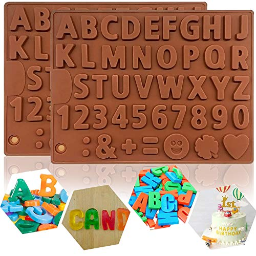 2Pcs Silicone Chocolate Number Letter Mold,Non-stick 26 Alphabets&Number Decorating Silicone Tray,Candy Molds,Letter Baking Mold for Chocolate,DIY Cookies,Ice Cube,Cake Decorating,Candy,Fondant-M-Size