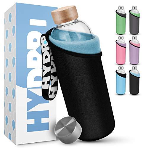 HYDROP® - Glasflasche 750ml & 1 Liter mit 2 Farben PRO SCHUTZHÜLLE [Innen & Außen] - Trinkflasche Glas 750ml spülmaschinenfest - Glass Bottle - Water Bottle - Sporttrinkflasche Glas extra robust