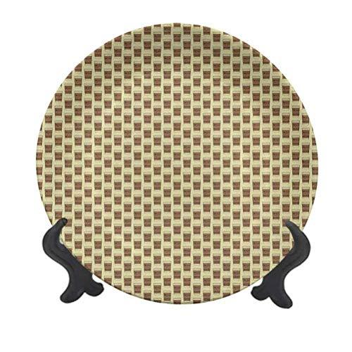 Plato decorativo para colgar de cerámica de 20,32 cm, ilustración de taza de café con soporte de cartón con letras de frijoles decorativos, de cerámica, para decoración de pared del hogar y la oficina