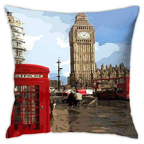 ChenZhuang London Big Ben City View - Funda de almohada de lino de algodón para sofá, dormitorio o coche, decoración de 45,7 x 45,7 cm