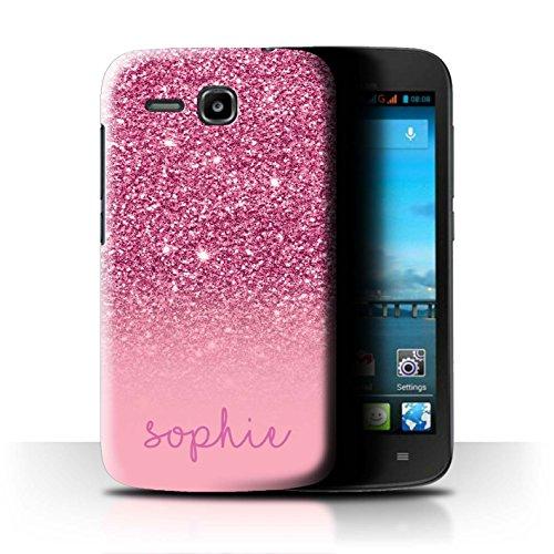 Personalisiert Hülle Für Huawei Ascend Y600 Persönlich Glitter Effekt Rosa Design Transparent Ultra Dünn Klar Hart Schutz Handyhülle Hülle
