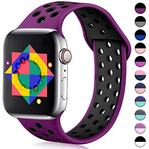 ilopee Sweat-Proof Sport Band Compatible with Apple Watch 42mm 44mm Series 5 4 3 2 1, Pulm/Black, M/L
