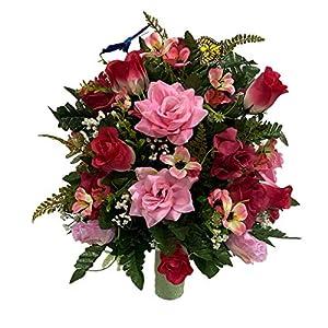 Butterflies Roses Valentine Cemetery Flower Arrangement, Headstone Vase Insert, Grave, Cone Insert, Tombstone vase Arrangement, Cemetery Flowers CCH1621