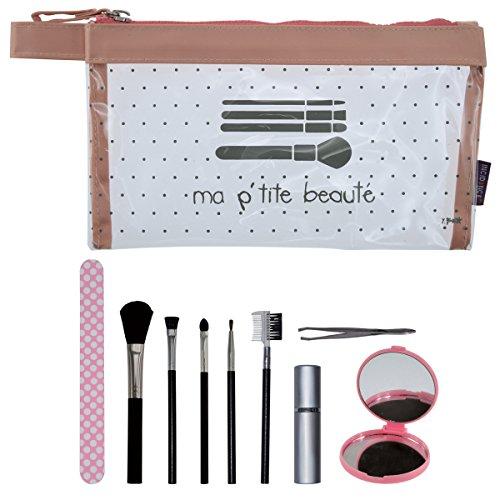 Incidence Paris 61834 Kit Krystal Mon p'tit spa Beauté Trousse et accessoires 10 pièces Transparent et rose, 22 cm, Rose