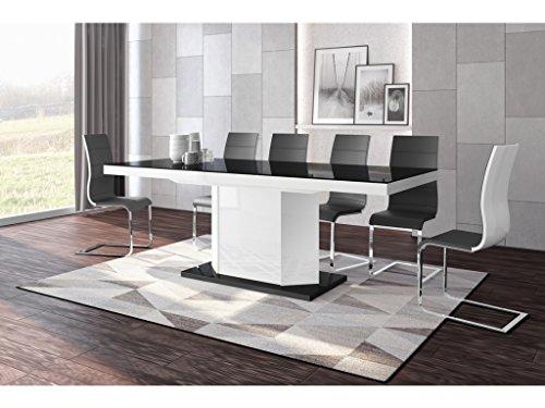 H MEUBLE Table A Manger Design Extensible 160÷256 CM X P : 89 CM X H: 75 CM – Noir/Blanc