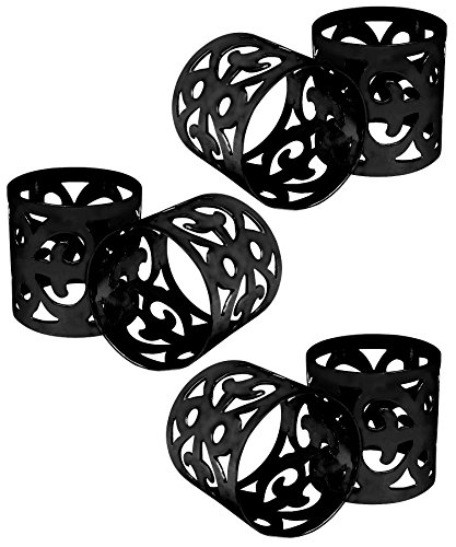 ITOS365 Handmade Black Napkin Rings Holder for Dinning Table Parties Everyday - Set of 6