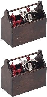 TOYANDONA 2 Sets 1: 12 Dollhouse Toolbox with Tools Wooden Miniature Tool Box Mini Toolbox Model Toy Dollhouse Furniture A...