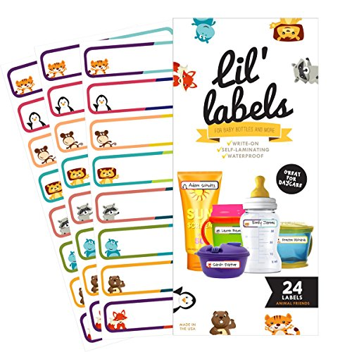 Bottle Labels  Write-On  Self-Laminating  Waterproof Kids Name Labels for Baby Bottles  Sippy Cup for Daycare School  Dishwasher Safe (Animal Friends)  Made in The USA