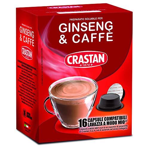 Crastan Capsule Compatibili a Modo Mio, Ginseng & Caffè, 16 Unità