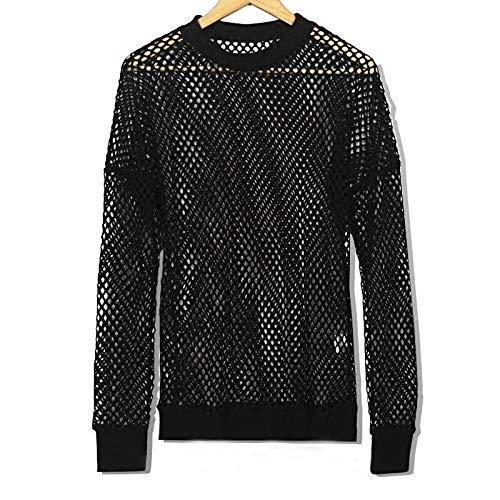 RSL Idol Trainee Met Het Geld Mannen En Vrouwen Kleding Lange mouwen Blouse Holle Mesh Persoonlijkheid Perspectief Fishnet T-shirt (Kleur: Zwart, Maat : 185)