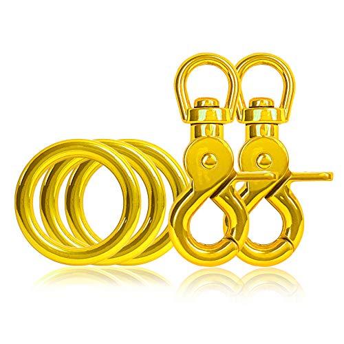 Ganzoo 3 x O - Ring aus Stahl und 2 x Scheren-Karabiner Haken mit Dreh-Gelenk/Dreh-Kopf im Set, DIY Hunde-Leine/Hunde-Halsband, nichtrostend, Ideal mit Paracord 550, Farbe: gelb