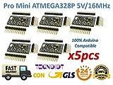 TECNOIOT 5pcs Pro Mini ATMEGA328P-AU 5V/16MHz Module...