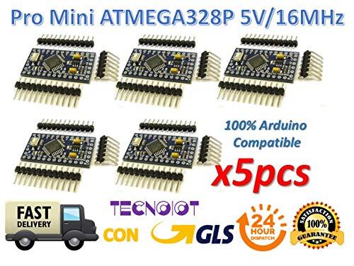 TECNOIOT 5pcs Pro Mini ATMEGA328P-AU 5V/16MHz Module