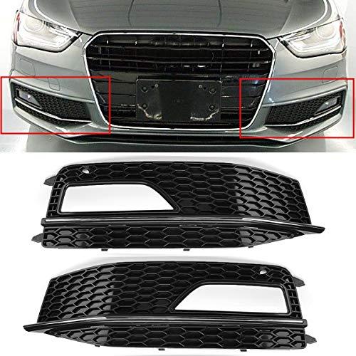 Nebelscheinwerfergitter Grille Nebelscheinwerfer Surround, New Car Frontstoßstange Nebelscheinwerfer Grill, Fit for Audi A4 B8 2012-2015 S4 S-Line Facelift (Color : Left Right)