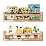 BOMID Wall Bookshelves,Set of 2 Natural Wood Floating Bookshelf,Nursery Shelves,Floating Book Shelves for Wall(Burlywood)