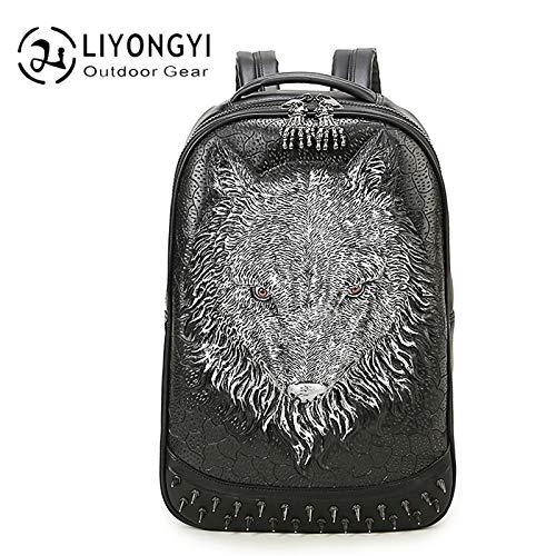Heren- en damesrugzak 3D Wolf Head Bag Computer Rugzak Outdoor Bag voor heren