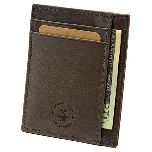 Hammer Anvil RFID Blocking Minimalist Genuine Leather Slim Front Pocket Wallet Gray