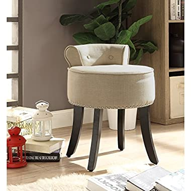 Inspired Home Taylor Beige Linen Vanity Stool - Nailhead Trim | Roll Back | Button Tufted | Bedroom