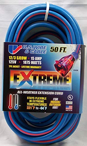 US Wire and Cable 99050 Extension Cord, 50ft, Multicolored
