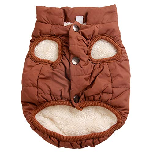 JoyDaog 2 Layers Fleece Lined Warm Dog Jacket for Puppy Winter Cold Weather,Soft Windproof Small Dog Coat,Brown S