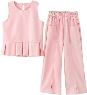 韓国子供服 夏着 女の子 2点セット 上下セットアップ 運動 2色子ども服130 140 150 160 レジャー ベスト+パンツ ワイドパンツ 9分ズボン おしゃれ 可愛い