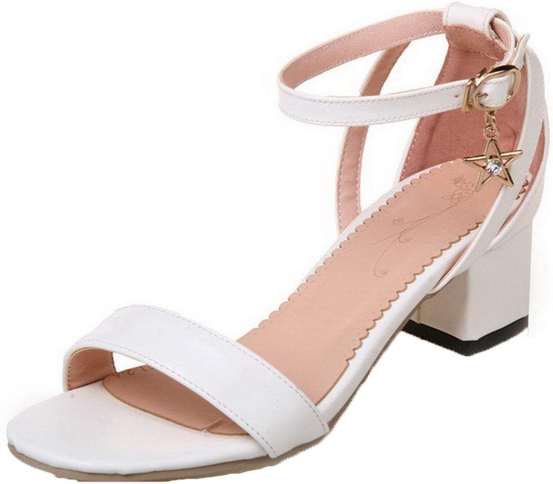 WeenFashion Women's Buckle Open Toe Kitten-Heels PU Solid Sandals, White, 38